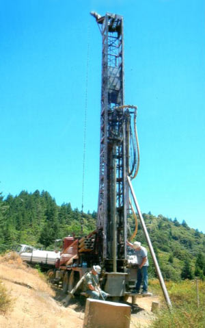 View of the drill rig from the back of the truck.